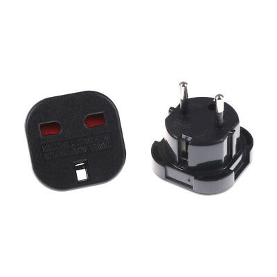 2pcs UK To EU Euro Europe European Travel Adaptor Plug 2 in 1 Adapter Black  wy