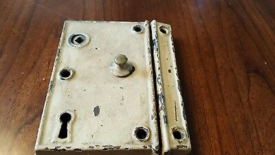 "Old Vintage Antique Large  Mortice Door Lock  6"" x 4"""