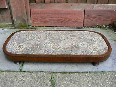 Old Vintage Upholstered Embroidery Wooden Praise Kneeing Pad Footrest