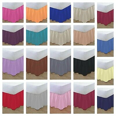 Plain Dyed Poly Cotton Frilled Base Valance,  Valance Sheet Bed Skirt