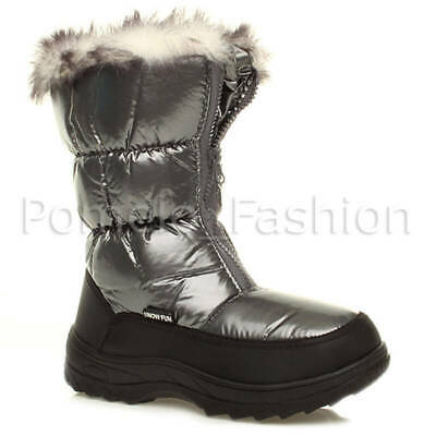 Womens Ladies Fashion Fur Lined Zip Winter Snow Padded Ski Moon Calf Boots Size