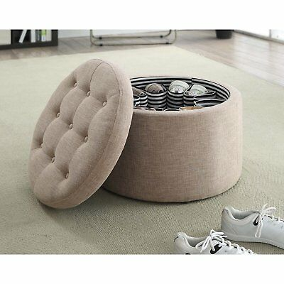 Incredible Tan Round Tufted Storage Ottoman Footstool Fabric Caraccident5 Cool Chair Designs And Ideas Caraccident5Info