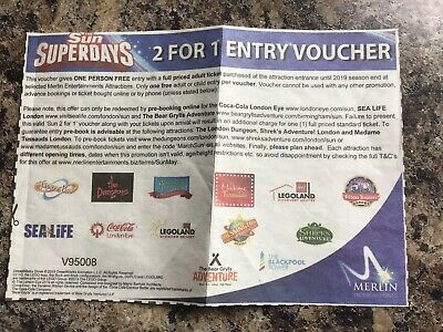 2 For 1 Entry Voucher For Merlin Attractions.