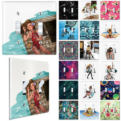 2-Gang Double Toggle Light Switch Wall Plate Artwork Cover