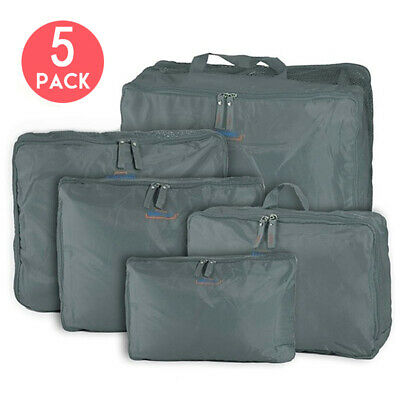 5Pcs Clothes Pouch Packing Cubes Storage Travel Luggage Suitcase Organizer Bags