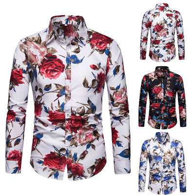 Men's Floral Slim Fit Shirt Long Sleeve Formal Casual Tops T Shirts Blouse M-2XL