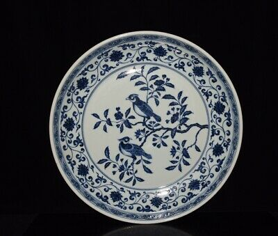 """18"""" Chinese old antique Porcelain ming xuande blue & white flowers bird plate"""