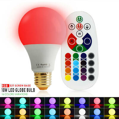 10W E26 RGBW LED Light Bulb 16 Color Change Mood Light with Memory Function Lamp