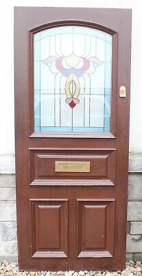 Vintage English Stained Glass Mahogany Entry Door~Mail Drop Mortise & Tenon H~77