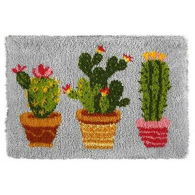 CACTUS PLANT POT TRIO LATCH HOOK RUG KIT by Orchidea, BRAND NEW