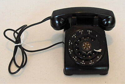Vintage 1953 Black Western Electric Desk Top Rotary Dial Telephone  Untested