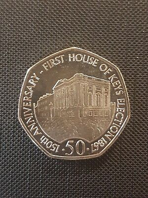 2017 ISLE OF MAN IOM 50p Fifty Pence First House of Keys Election Coin