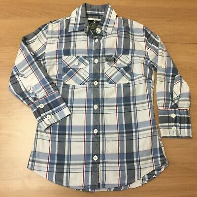 Womens Superdry Blue White Plaid Check Slim Fit Long Sleeve Shirt - Size L Large