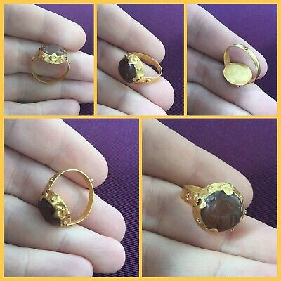 Rare ancient Roman Near Eastern carnelian Solid Gold seal ring c 2nd to 4th AD.