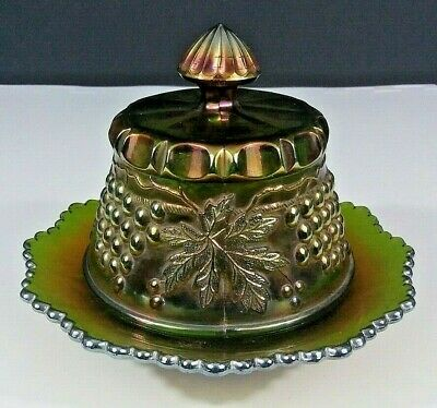 Vintage NORTHWOOD Covered Butter Dish Green Carnival Glass Grape & Cable Pattern