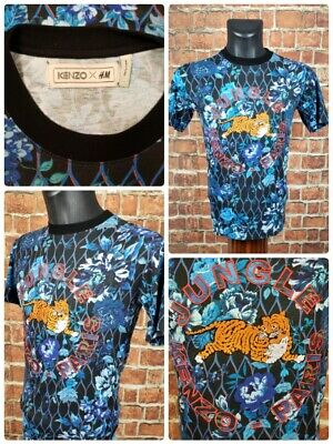Kenzo x HM Men's XS S/S Embroidered t shirt Tiger Floral Blue