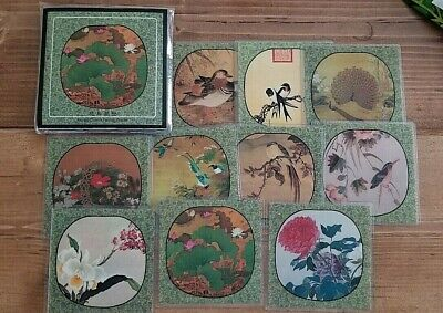 Ancient Chinese Painting Coasters Set of 10 in Plastic Case Flowers and Birds