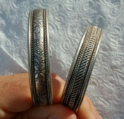 Ancient Viking Rare 2 Bracelet Silver Extremely Old Antique Museum Quality