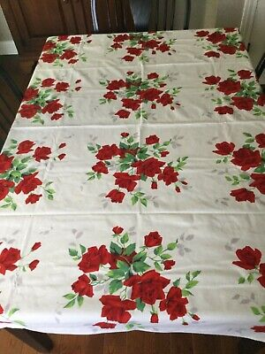 Vintage Cotton Print Tablecloth Wilendur Red Rose 54X68 Tagged Excellent