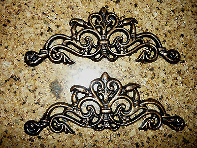TWO, Cast Iron, Scroll, Toppers, Cabinet Hardware, Tuscan, Wall Plaques, drawer