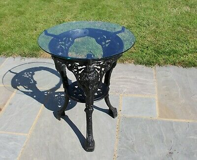 Cast Iron Glass Top Table Ideal Garden Conservatory Vintage Victorian Style Pub