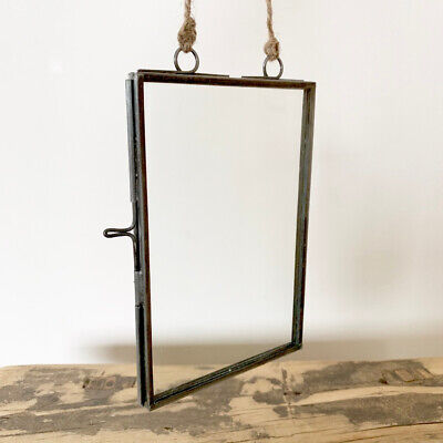 NEW Vintage Industrial Grey Hanging Photo Frame Picture Glass Metal Double Sided
