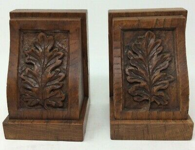 Arts & Crafts Hand Carved Antique Oak Bookends 14.5 Cms Tall