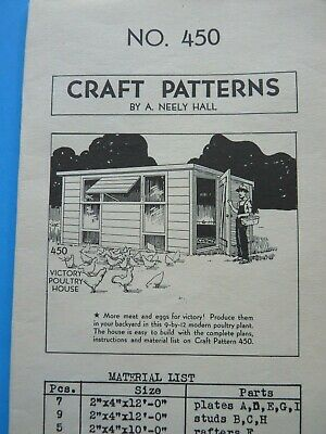 ANTIQUE VICTORY CHICKEN HOUSE PLANS PATTERN NO# 450 NEELY HALL 1940's
