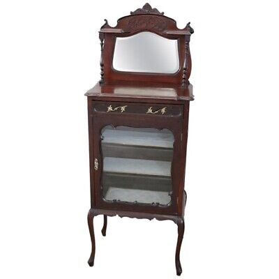 19th Century English antique Mahogany Carved Antique Vitrine or Display Cabinet