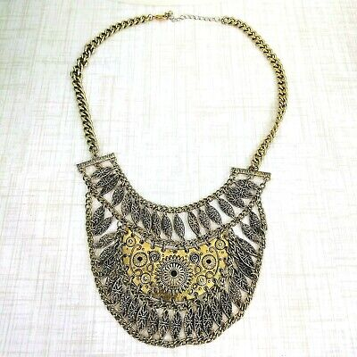 Egyptian Revival Steampunk Necklace Metal Chain Boho Choker Fit For a Queen