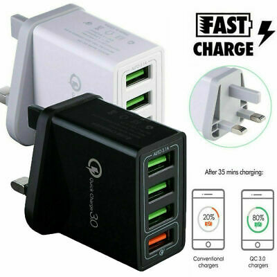4 Multi-Port Fast Quick Charge QC 3.0 USB Hub Wall Charger Adapter UK Plug Black