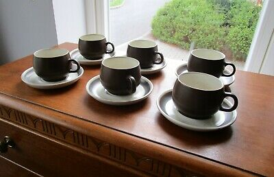 Set of Six (6) Vintage Denby Stoneware Matt Brown and Oatmeal Cups and Saucers