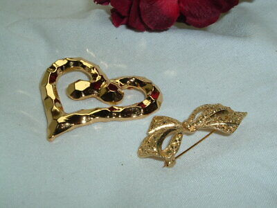 Vintage Pair Large French Heart and Bow Pins in Gift Box