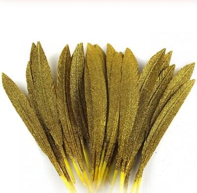 Large Glitter Gold Turkey Feathers Arts Crafts Hat Costume Silver Gold Gift