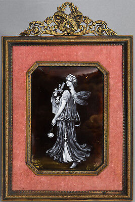 Framed Antique French En Grisaille Enamel Plaque of Classical Maiden w/ Flowers