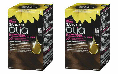 2 Garnier Olia Permanent Oil Powered Hair Color, # 5.3 Medium Golden Brown