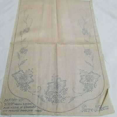 Vtg WonderArt Linen Dresser/Table Runner Scarf For Embroidery Hibiscus & Daisies