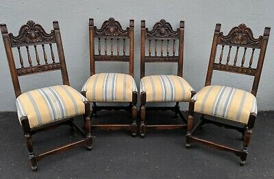 Four Jacobean Gothic Revival Upholstered Dining Chairs