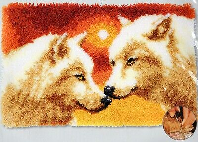 SUNSET WOLVES LATCH HOOK RUG KIT by VERVACO, BRAND NEW