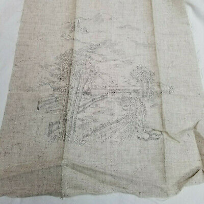 Covered Bridge Stream Mountains Pre-Printed Linen for Embroidery Needlepoint