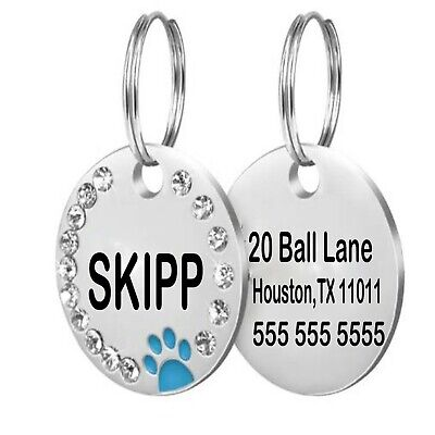 Personalized Dog Tags Paw Rhinestone Pet Cat ID Name Tag Engraved