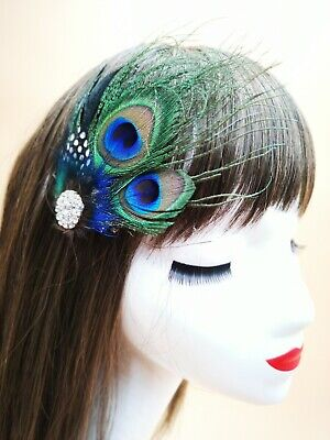 Dark Green Gold Peacock Feather Fascinator Hair Clip Races Cocktail 1920s 4633