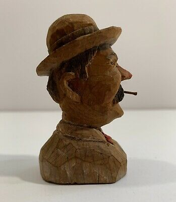 American Folk Art Carving Bust Of A Man In A Hat Signed Dated 1936