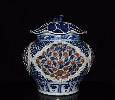 """14"""" Fine Chinese old Porcelain yuan Blue white Underglaze red carved flowers jar"""