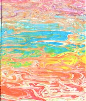 Pour painting on a wooden plaque, wall decoration, abstract art on wood
