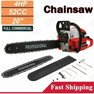 "52cc 20"" Heavy Duty Petrol Chainsaw Two-Stroke Petrol Engine Tree Wood Pruning"