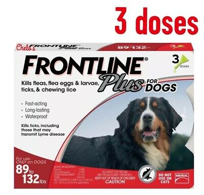FRONTLINE Plus for EXTRA LARGE XL Dogs 89-132 lbs 3 Doses NEW in Box