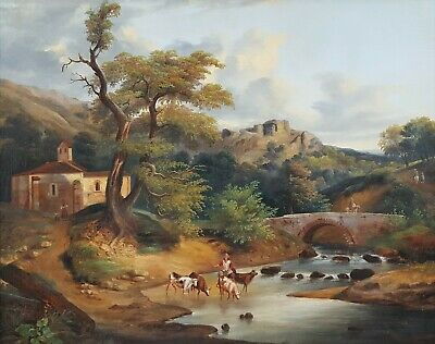 Antique Oil Landscape, 18th Century Italian Painting, Cows Rural Scene Painting