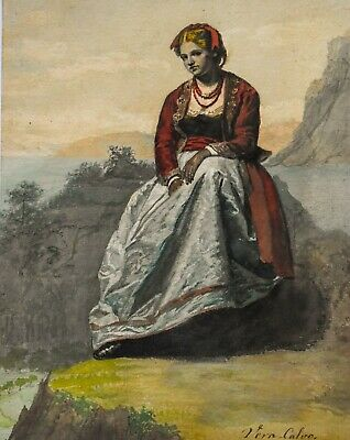 Antique Watercolor Painting 19th Century Young Woman Portrait Signed Vera Calvo