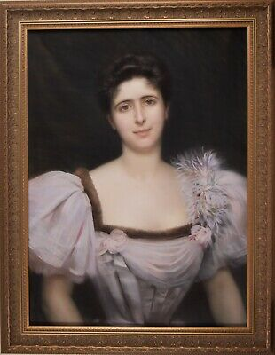 Pastel Portrait, Antique Painting, 1896 French Art, Georges Roussin (1854-1941)